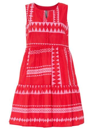 Sukienka z falban bonprix czerwono-różowy w paski