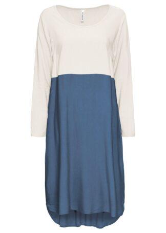 Sukienka oversize bonprix biel wełny - niebieski dżins