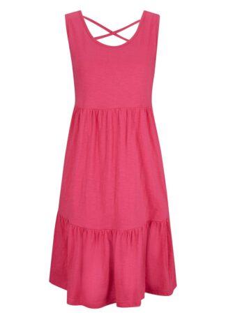 Sukienka z dżerseju z falbanami i ozdobnym tyłem bonprix różowy