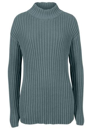Sweter bawełniany ze stójką bonprix Sweter bawełn ziel.euk