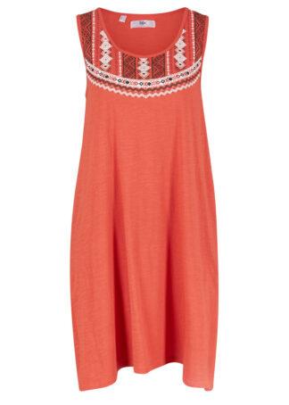 Sukienka z dżerseju na ramiączkach bonprix czerwony cynamonowy