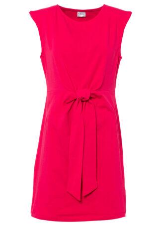 Sukienka z ozdobnym przewiązaniem bonprix różowy magenta