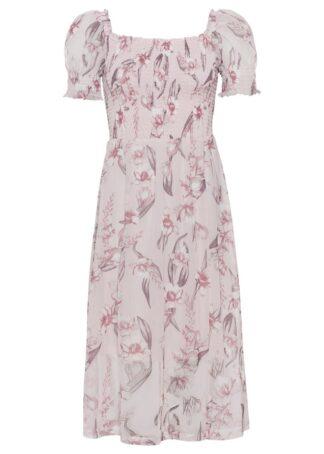 Sukienka z dekoltem karo i przeszyciem cienkimi gumkami bonprix bladoróżowy w kwiaty