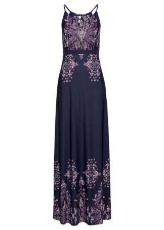 Sukienka na ramiączkach bonprix ciemnoniebiesko-jasnoróżowy wzorzysty