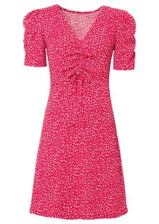 Sukienka z dżerseju bonprix różowy magenta w kwiaty
