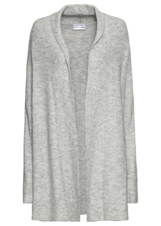 Sweter bez zapięcia z szalowym kołnierzem bonprix jasnoszary melanż
