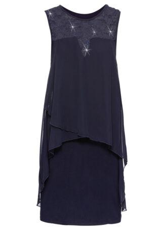 Sukienka z dżerseju i szyfonu bonprix kobaltowy