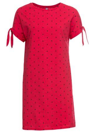 Sukienka z dżerseju w prostym fasonie bonprix czerwono-czarny w kropki