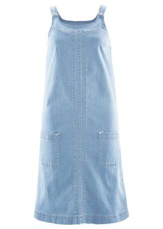 """Sukienka bawełniana dżinsowa ogrodniczka bonprix niebieski """"bleached"""""""