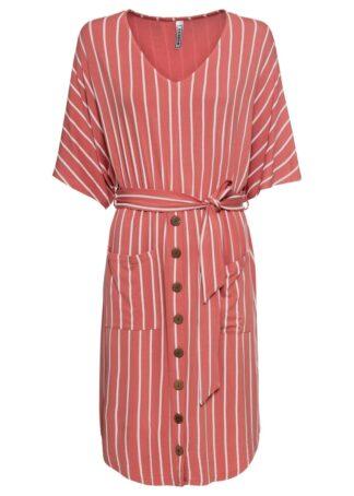 Sukienka z dżerseju z wiązanym paskiem i kieszeniami. bonprix rabarbarowo-biały w paski