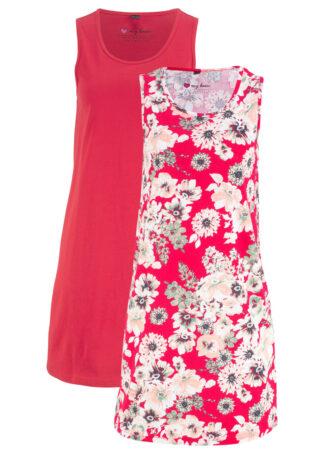 Sukienka z dżerseju (2 szt.) bonprix czerwony w kwiaty + czerwony