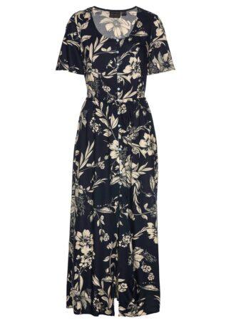 Długa sukienka z wiskozy bonprix ciemnoniebiesko-beżowo-szary w kwiatowy wzór