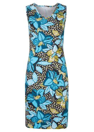 Sukienka shirtowa bonprix niebieski karaibski z roślinnym nadrukiem