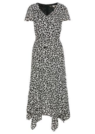 Sukienka bonprix czarno-biały leo z nadrukiem