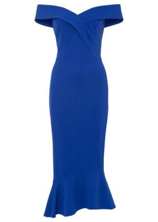 Sukienka z dekoltem carmen bonprix niebieski