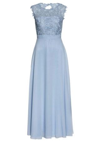 Długa sukienka wieczorowa z koronką bonprix pudrowy niebieski