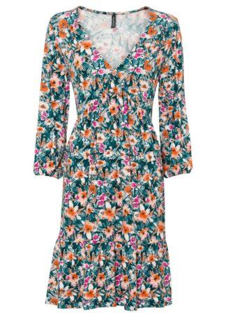 Sukienka bonprix zielono-lila-beżowo-pomarańczowy w kwiaty