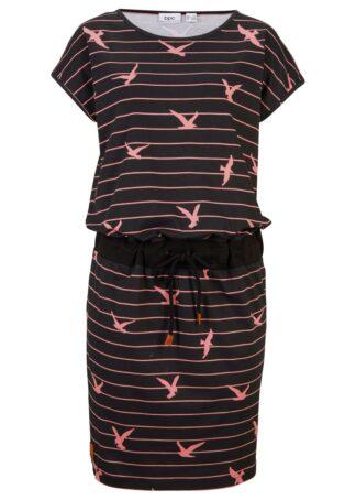 Sukienka z rękawami motylkowymi bonprix czarno-dymny różowy w paski