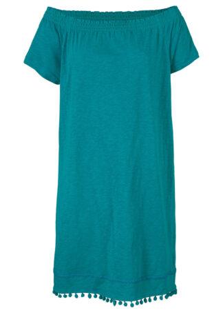 """Sukienka z dżerseju z dekoltem """"carmen"""" bonprix kobaltowo-turkusowy"""
