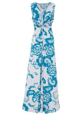 Długa sukienka bonprix niebieski oceaniczny - biały paisley