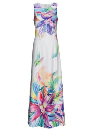 Długa sukienka w kwiaty bonprix biało-lila-zielony w kwiaty