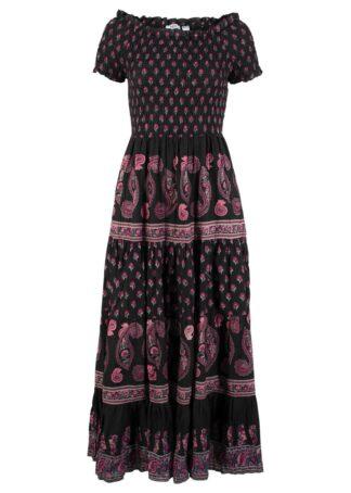 Sukienka midi w deseń paisley bonprix czarny z nadrukiem