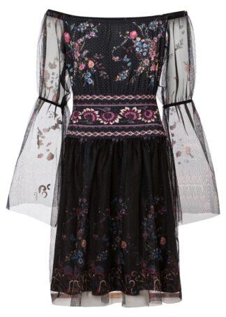 Sukienka z dekoltem carmen bonprix czarny z nadrukiem