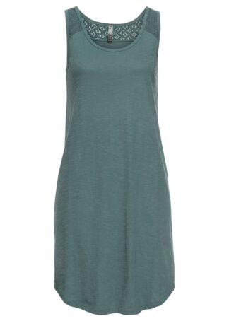 Sukienka shirtowa z koronką bonprix szarozielony