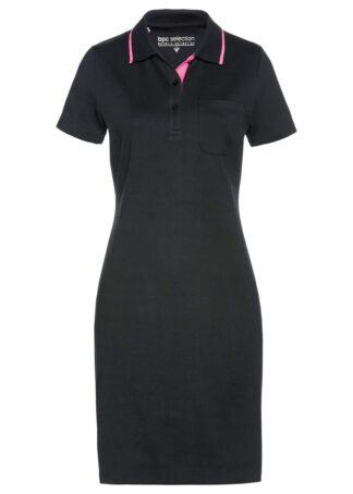 Sukienka shirtowa polo bonprix czarno-różowy neonowy