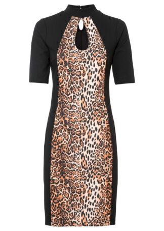 Sukienka ołówkowa bonprix beżowo-czarny leo