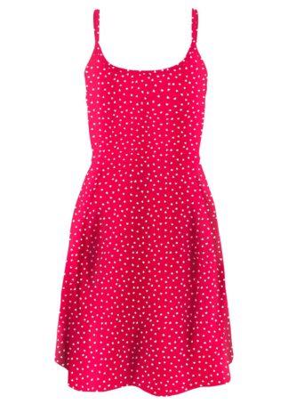 Sukienka z dżerseju z nadrukiem bonprix czerwono-biały - serca