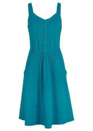 Sukienka bawełniana z dżerseju bonprix morski turkusowy