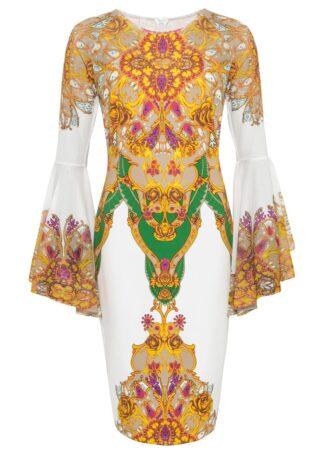 Sukienka z dżerseju z nadrukiem bonprix żółty