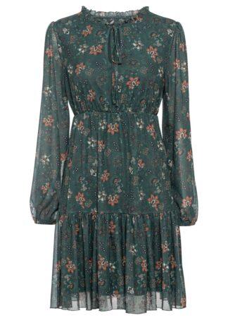 Sukienka shirtowa bonprix ciemnozielony w kwiaty