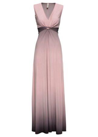 Sukienka z efektem przewiązania bonprix jasnoróżowo-szary