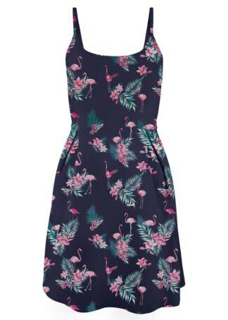 Sukienka z dżerseju z nadrukiem bonprix ciemnoniebieski - flamingi