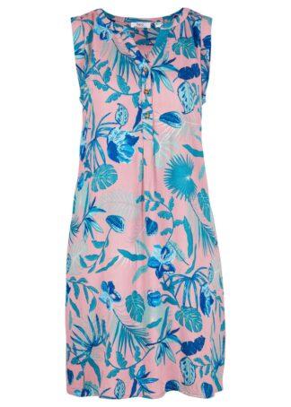 Sukienka koszulowa z kreszowanego materiału z plisą guzikową bonprix jasnoróżowy popielaty z nadrukiem