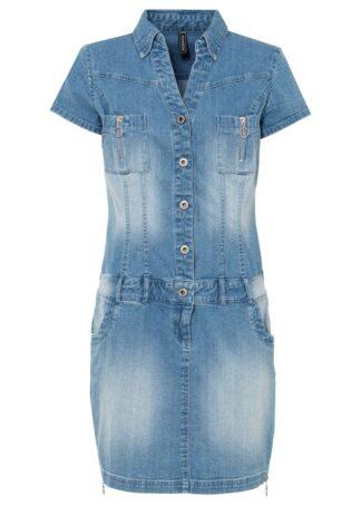 """Sukienka dżinsowa bonprix niebieski """"bleached"""""""