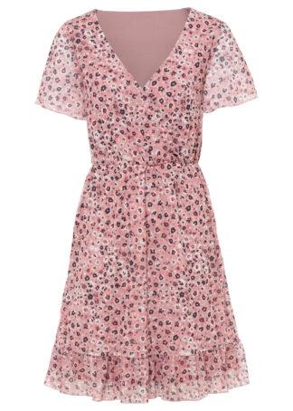 Sukienka siatkowa z nadrukiem bonprix jasnoróżowy w kwiaty