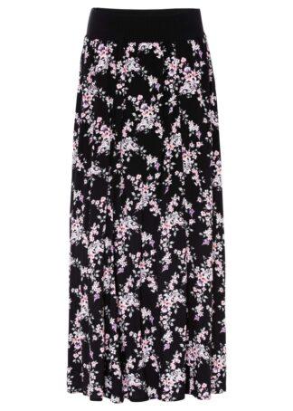 Spódnica maxi bonprix czarno-jasnoróżowy w kwiaty