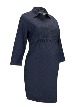 Sukienka dżinsowa ciążowa i do karmienia piersią bonprix ciemny denim