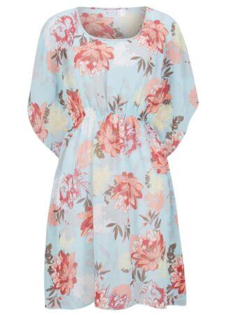 Sukienka tunikowa plażowa bonprix jasnoniebieski w kwiaty
