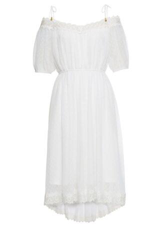 Sukienka cold-shoulder z koronką bonprix biały