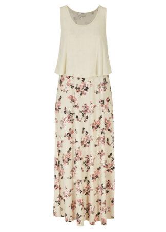 Długa sukienka shirtowa warstwowa bonprix naturalno-dymny malinowy w kwiaty