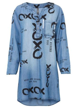 Sukienka dżinsowa z napisem