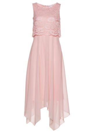 Sukienka szyfonowa z koronką bonprix pastelowy jasnoróżowy