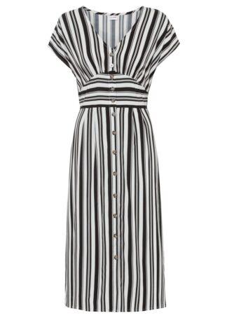 Sukienka z nadrukiem bonprix czarno-biały w paski