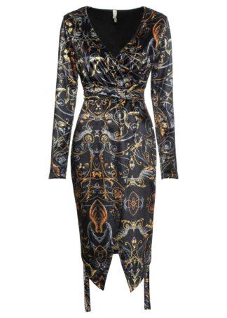 Sukienka aksamitna kopertowa bonprix czarny z nadrukiem