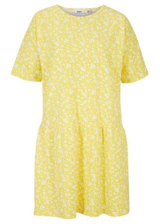 Sukienka z dżerseju z falbanami bonprix żółty ananasowy w kwiaty