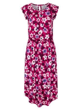 Sukienka z dżerseju z rękawami z falban bonprix różowy magenta w kwiaty